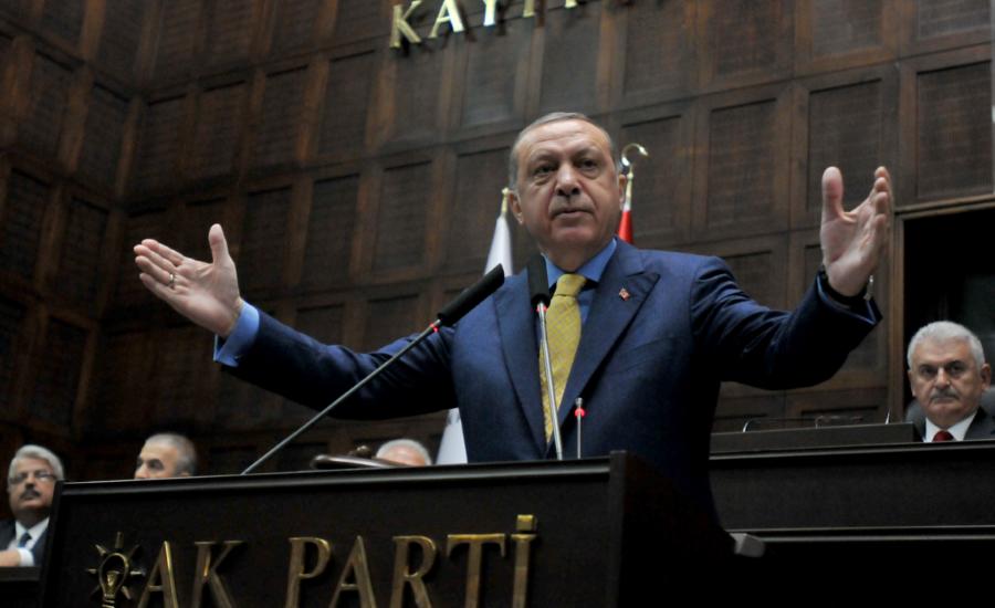 Erdogan in Ankara tijdens een partijcongres van de AKP (mei 2017)