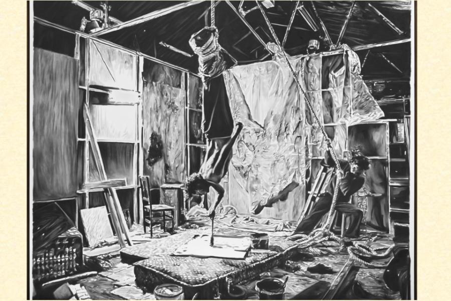 Rinus Van de Velde, 'An investigation into the hyperpersonal ...' 2015, 210 x 250 cm, houtskool op doek, Gallery, Antwerpen