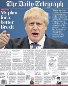 Voorpagina van The Daily Telegraph (28.09.18)