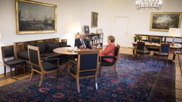 Merkel op de koffie bij president Steinmeier